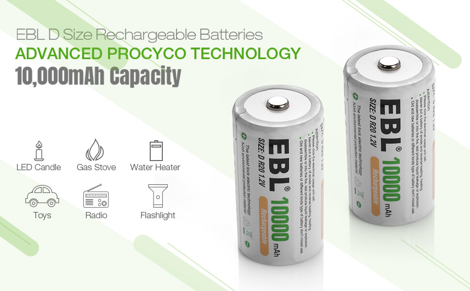 10000mAh Ni-MH High Capacity D Cell Battery New Retail Package EBL D Rechargeable Batteries Pack of 4