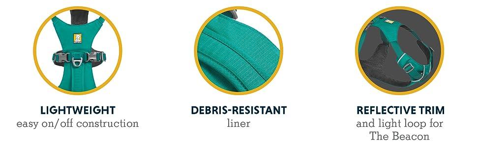 Lightweight easy on/off construction Debris-resistant liner Reflective trim and light loop