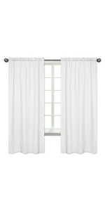Grey and White Polka Dot Window Treatment Panels Curtains for Watercolor Floral Collection
