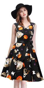 Halloween pattern party cosplay costume skull print dumpkin ghost vintage dress little black dress
