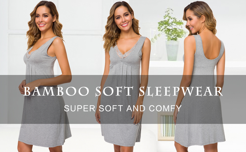 WiWi Womens Bmaboo Nightgown Plus Size Soft Sleepwear Full Slip Chemise S-4XL