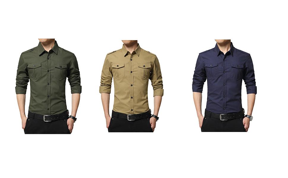 LEOCLOTHO Camisa Casual Manga Larga para Hombre Estilo Militar Slim Fit Color Sólido Camisas con Botones
