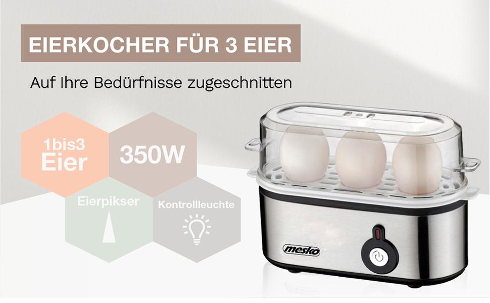 Mesko MS-4485 Cuece Eléctrico para 3 Huevos, Acero Inoxidable, Protección por sobre Calentamiento, 350W, Libre de BPA, 350 W, Plástico