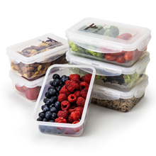 6 pack fitness portion control containers for fit and fresh food. Silicone seals and snap lock lids