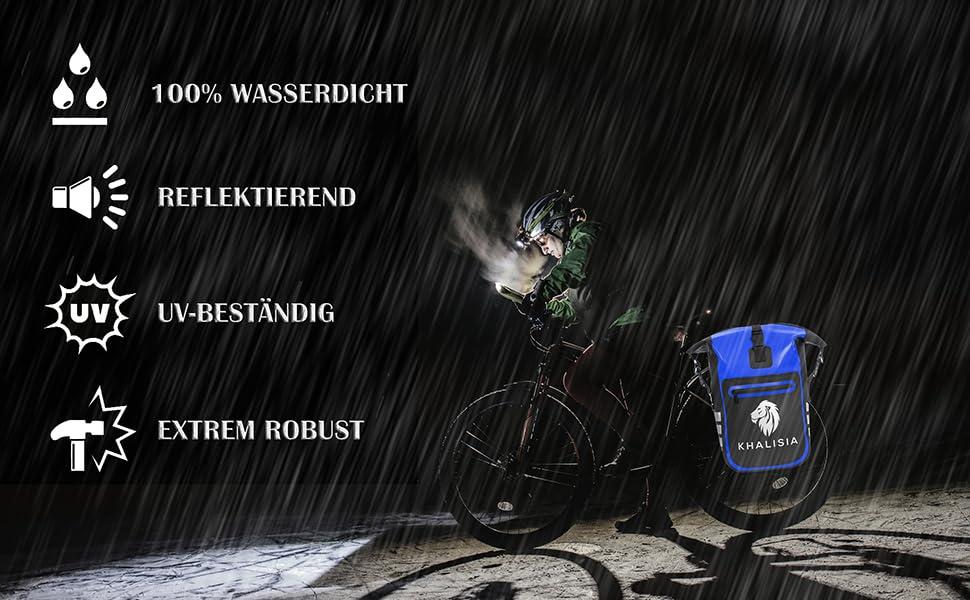 Gepäckträgertasche Fahrradtasche Damen Rucksack Rolltop Khalisia Blau Pannier Bag Wasserdicht bike