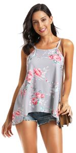 floral print mini dress tops for women sleeveless