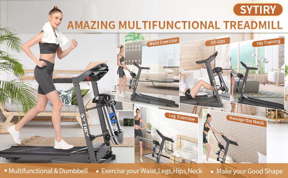 SYTIRY multifunctional treadmill, indoor fitness trainer for leg, waist, and neck exercises.