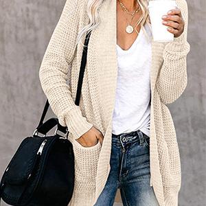 waffle knit long sleeve cardigan