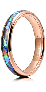 Rose Gold Abalone Shell Inlay Tungsten Rings 4mm 6mm 8mm