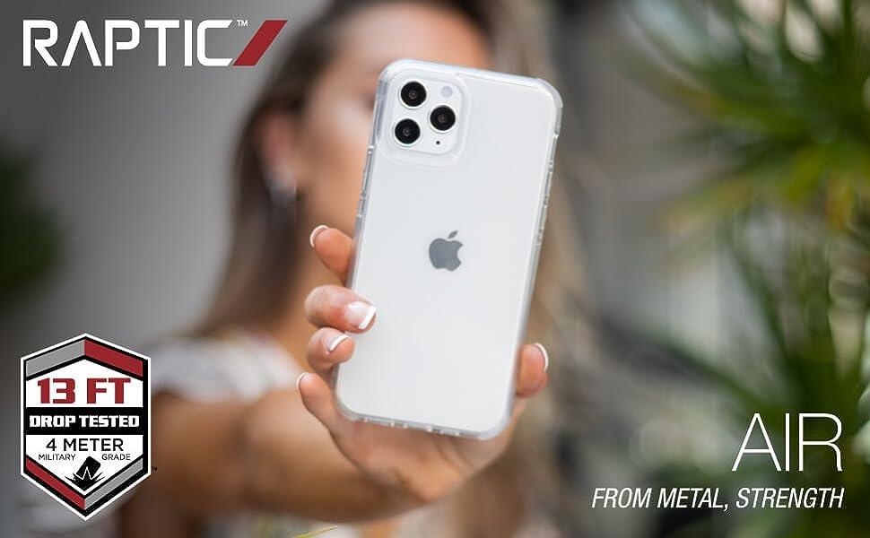 raptic defense x-doria air iphone apple 2020 case see through transparent translucent premium rubber