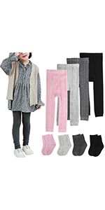 BOOPH 4 Pairs Girls Leggings Pants Sock Set Footless Knits Tights Stockings