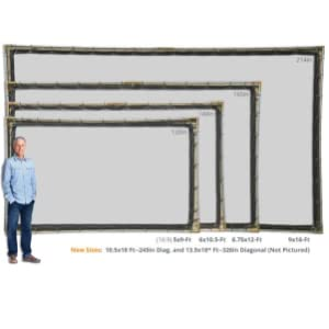 Projector screen hanging kit sizes.