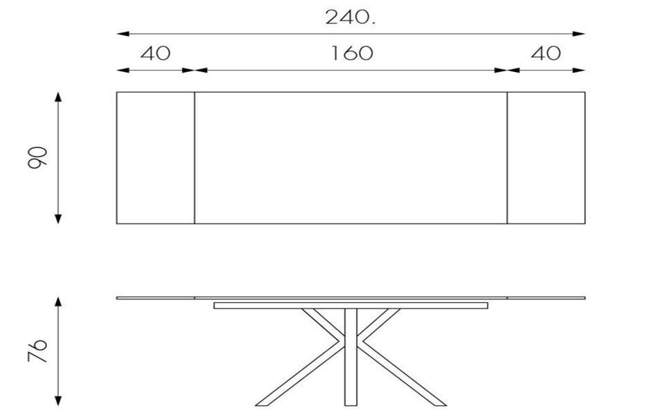Tavolo Allungabile con due allunghe da 160cm a 240cm alta qualità top in ceramica grigio grafite