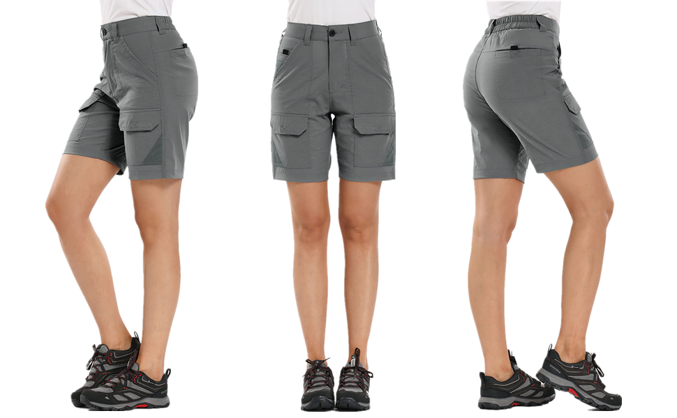 Jessie Kidden Womens Hiking Cargo Shorts-For Stretch Outdoor Quick Dry Fishing Zip Off Active Climbing Pants #2105 Grey-36