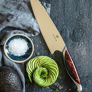 Elegant 8 inch chef kitchen knife avocado flower salt