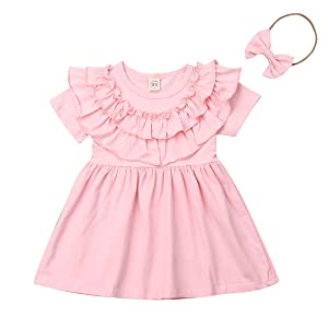 Puloru Toddler Baby Girls Ruffle Dress Clothes Solid Tutu Princess Dress with Headband Two-Piece Outfit