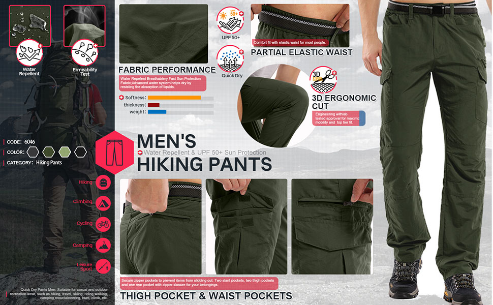 Mens Hiking Pants Adventure Quick Dry Lightweight Fishing Travel Mountain Cargo Trousers