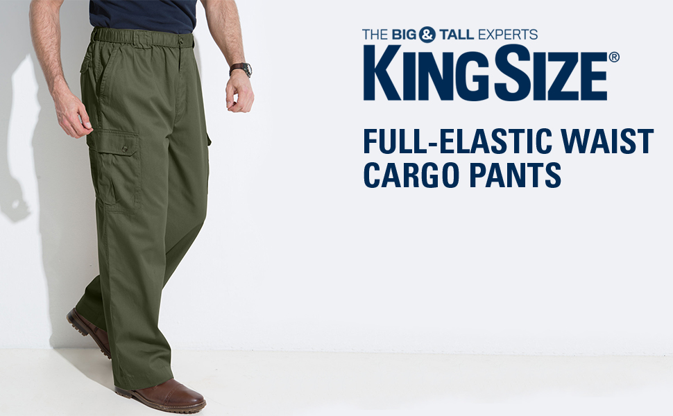 low cost amazing selection uk availability KingSize Men's Big & Tall Full Elastic Cargo Knockarounds in Twill