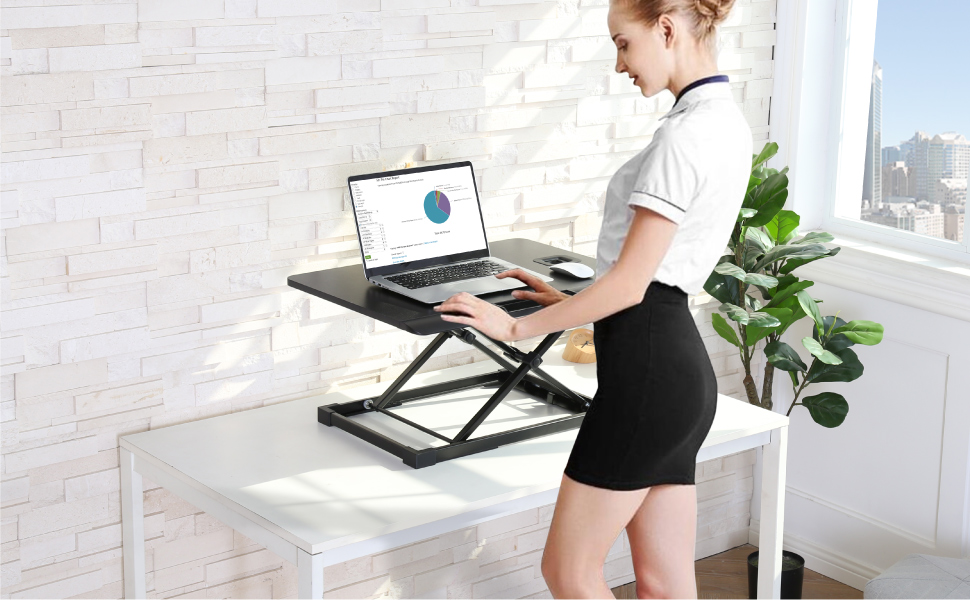 Standing Desk Conventer with Storage Area Height Adjustable Stand Up Desk for Home Office
