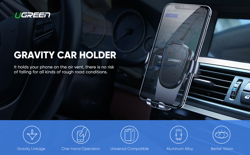 Car Phone Holder Gravity Air Vent Car Phone Mount Car Cradle Auto Clamping for iPhone 11 Pro Max
