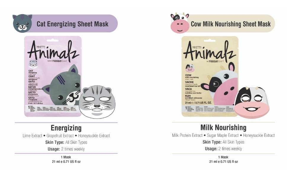 animal print facial masks, skin care, sheet mask, cat, cow, slumber party, gifts for women, face