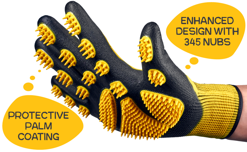 Cat, dog and horse glove brush with protective palm coating to keep hands, nails, fingernails clean.