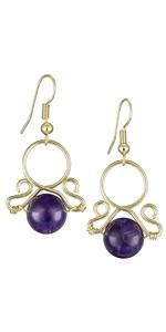 Crystal Sotne Bead Dangle Earrings