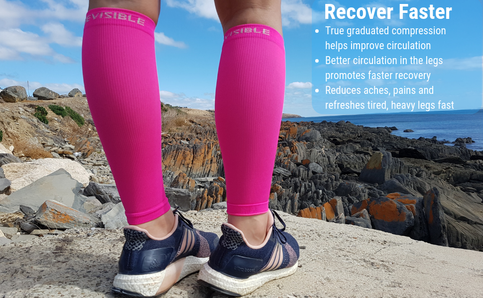 calf compression sleeves neon pink shin splint sleeve socks recovery running bevisible sports