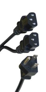 Computer / Monitor Power Y Cord, Black, NEMA 5-15P to Dual C13, 10 Amp