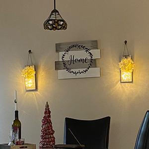 Mason Jar Decor Fall Wall Kitchen Rustic Hydrangea Flower GIFTS wall lights handmade