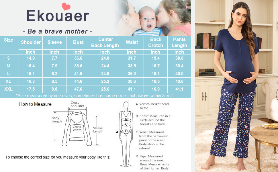 Women Ultra Soft Maternity & Nursing Pajama Set Pregnancy Sleepwear
