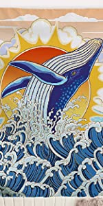 Ocean Wave Whale Tapestry Japanese Ukiyo-e Koi Tapestry Mountains Sunset Tapestry Wall Hanging