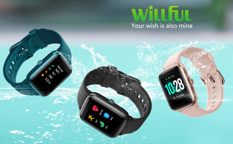 Willful Fitness Tracker Watch 2019 Version IP68 Swimming Waterprof, Smart Watch Compatible with Android Phone and iPhone,Health Tracker Heart Rate ...