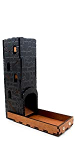 C4Labs Tall Classic Dice Rolling Tower Clear Tray Acrylic Wood dragon dragonstone stone fantasy dnd