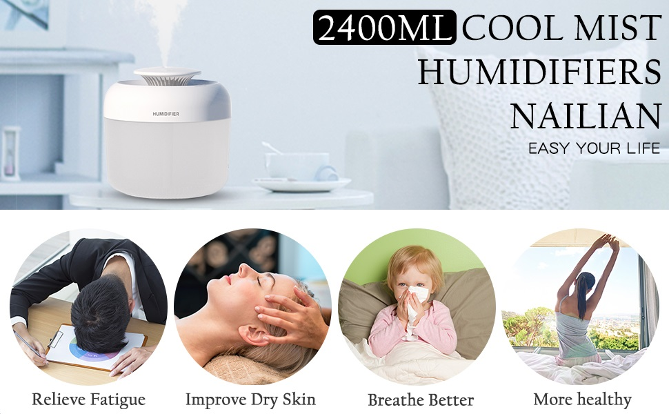 NAILIAN 2400ml Humidifiers, Top Fill Cool Mist Humidifiers, Ultrasonic Personal Humidifier with Translucent Water Tank and Night Lights for bedroom,