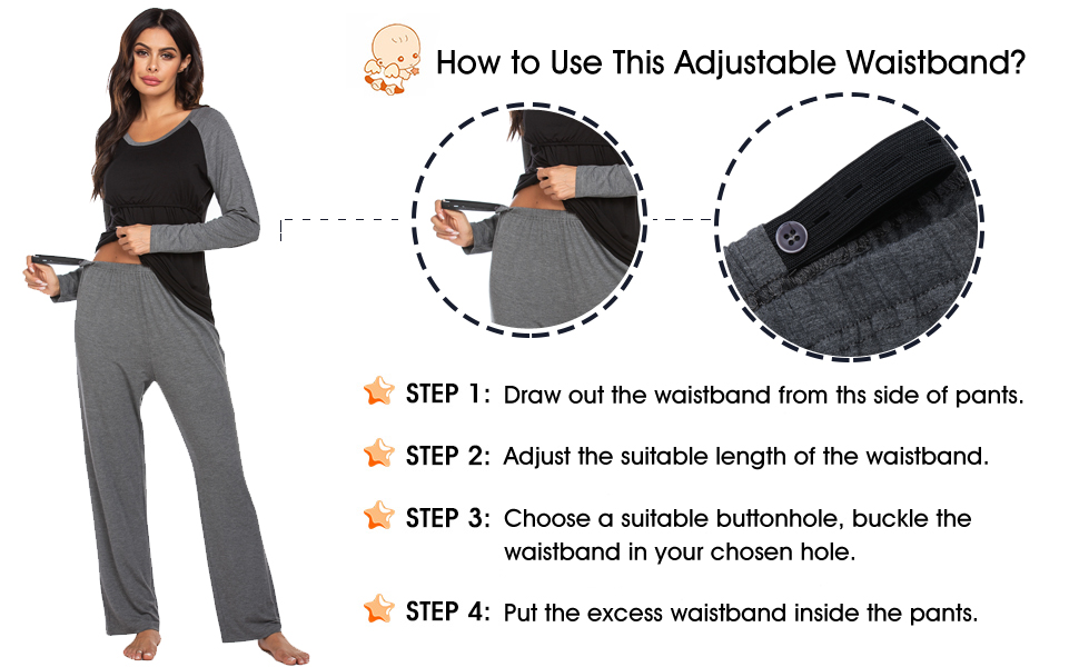 Women's Maternity Nursing Sleepwear Henley Top and Long Pants Nursing Pajama Set Soft Loungewear