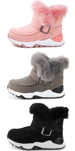 Kids Boys Girls Snow Boots Plush Warm Winter Hiking Non-Slip Rubber Sole (Toddler/Little Kid)