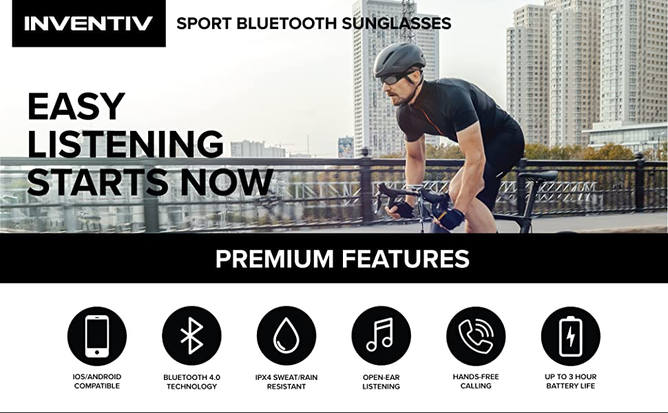 Bluetooth Sunglasses features including dual stereo speakers, open ear audio, IPX4 Water resistant