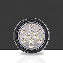"""4pc White 4"""" 10-LED Round Tail Light close of front and on trailer."""