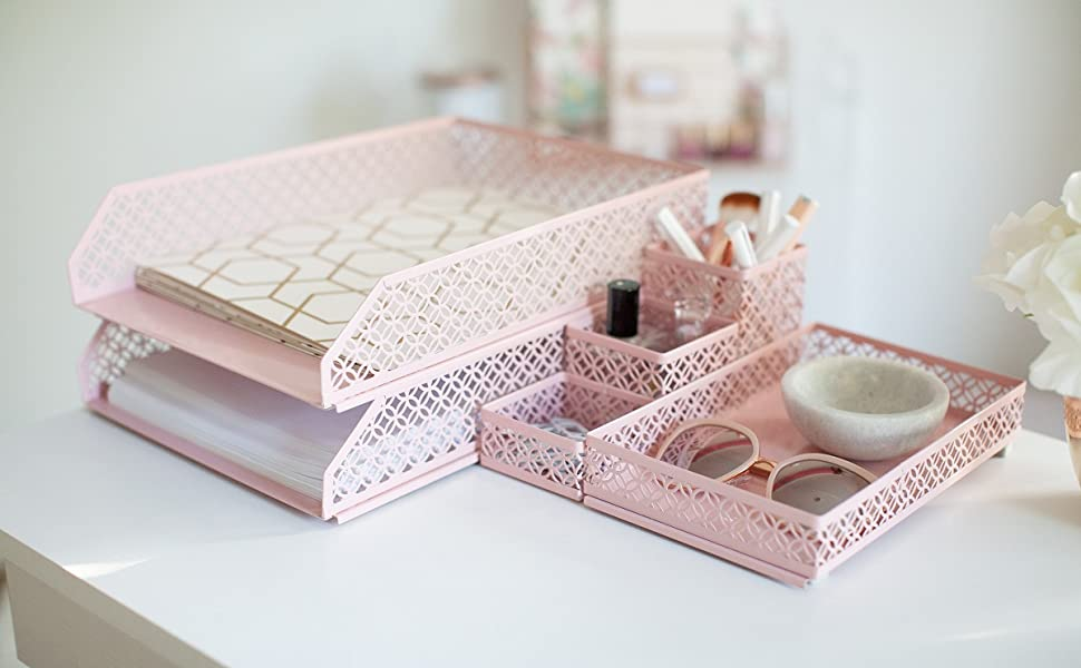 Pink Desk Organizer  Blu Monaco Office Supplies Pink Desk Accessories for Women-6 Piece Interlocking Desk Organizer Set- Pen Cup, 3 Assorted Accessory Trays, 2 Letter Trays-Pink Room Decor for Women and Teen Girls e71e714b ccf3 428f a58c fd5d4119fcce