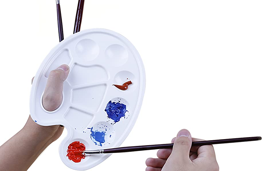 Exerz 12pcs Palettes Paint Tray with Thumb Hole, A Set For Oil Paint, Acrylic, Watercolour, Oval