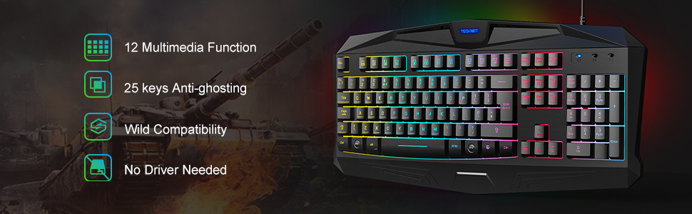 USB wired gaming keyboard and mouse UK Layout
