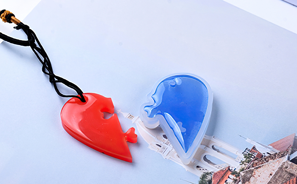 Resin Casting Molds, Silicone Resin Jewelry Molds Making Pendant Mould Split Puzzle Heart Shapes