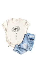 Women Sunflower Graphic Shirt Never Give Up Vintage Inspirational Letters Printed Tee Tops