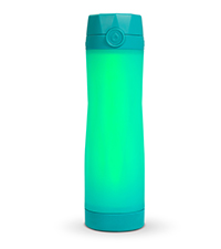 hidrate spark 3 smart water bottle closeup, 3 light patterns, syncs via bluetooth, teal blue color