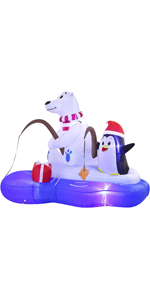Inflatable Polar Bear Fishing with Penguin