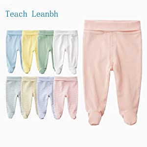 Teach Leanbh Unisex Baby Cotton High Waist Footed Pants Casual Leggings 0-12 Months