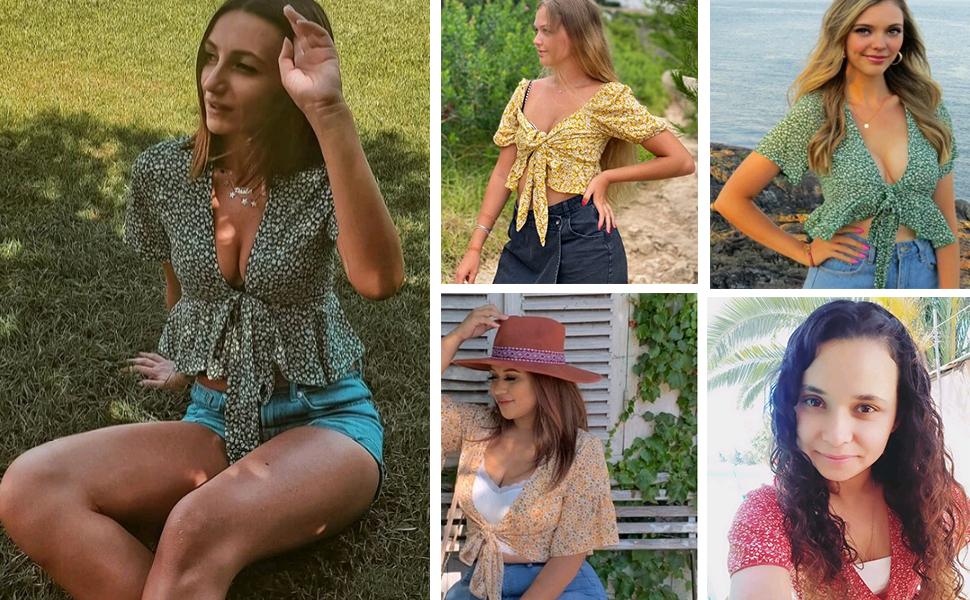 women short sleeve floral blouse