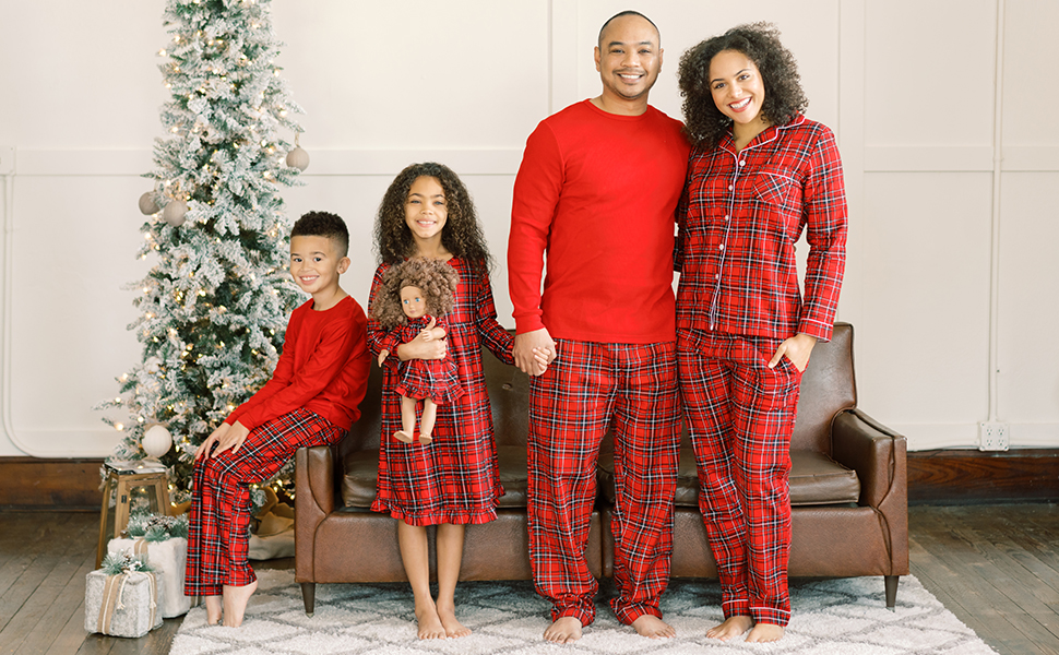 Image of Christmas family matching pajamas for men, women, kids, toddlers, babies, and pets.