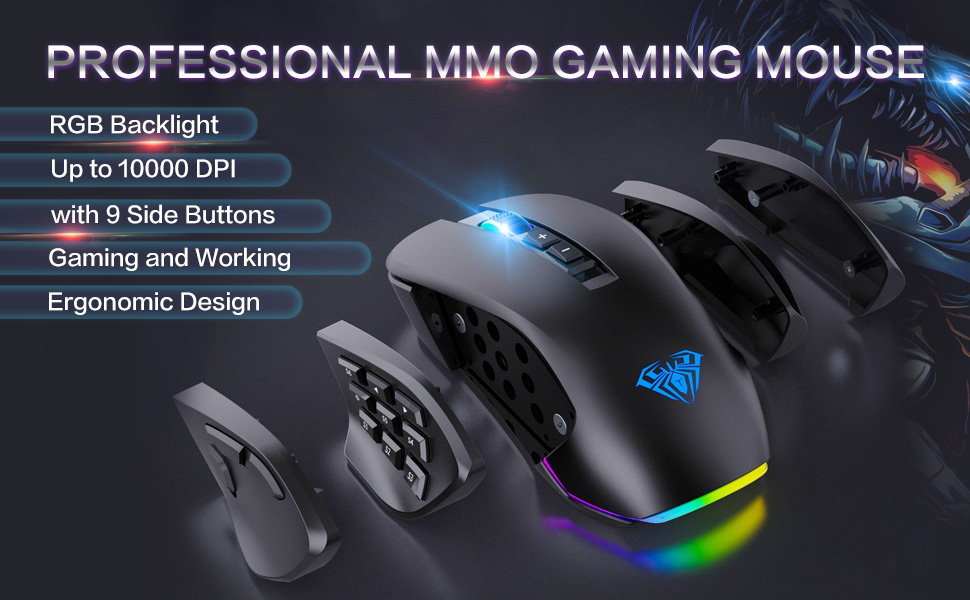 Gaming Mouse Wired with 9 Side Buttons Programmable